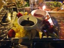 Chocolate fondue duo from Juliette et Chocolat. Semi-sweet and milk chocolate yumminess